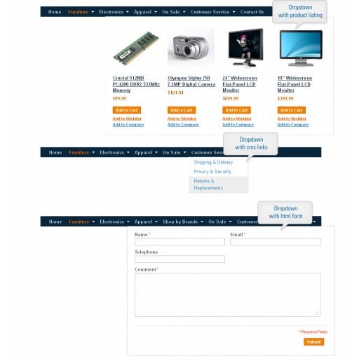 Magento dropdown menu,  Magento horizontal menu,  Magento static menu