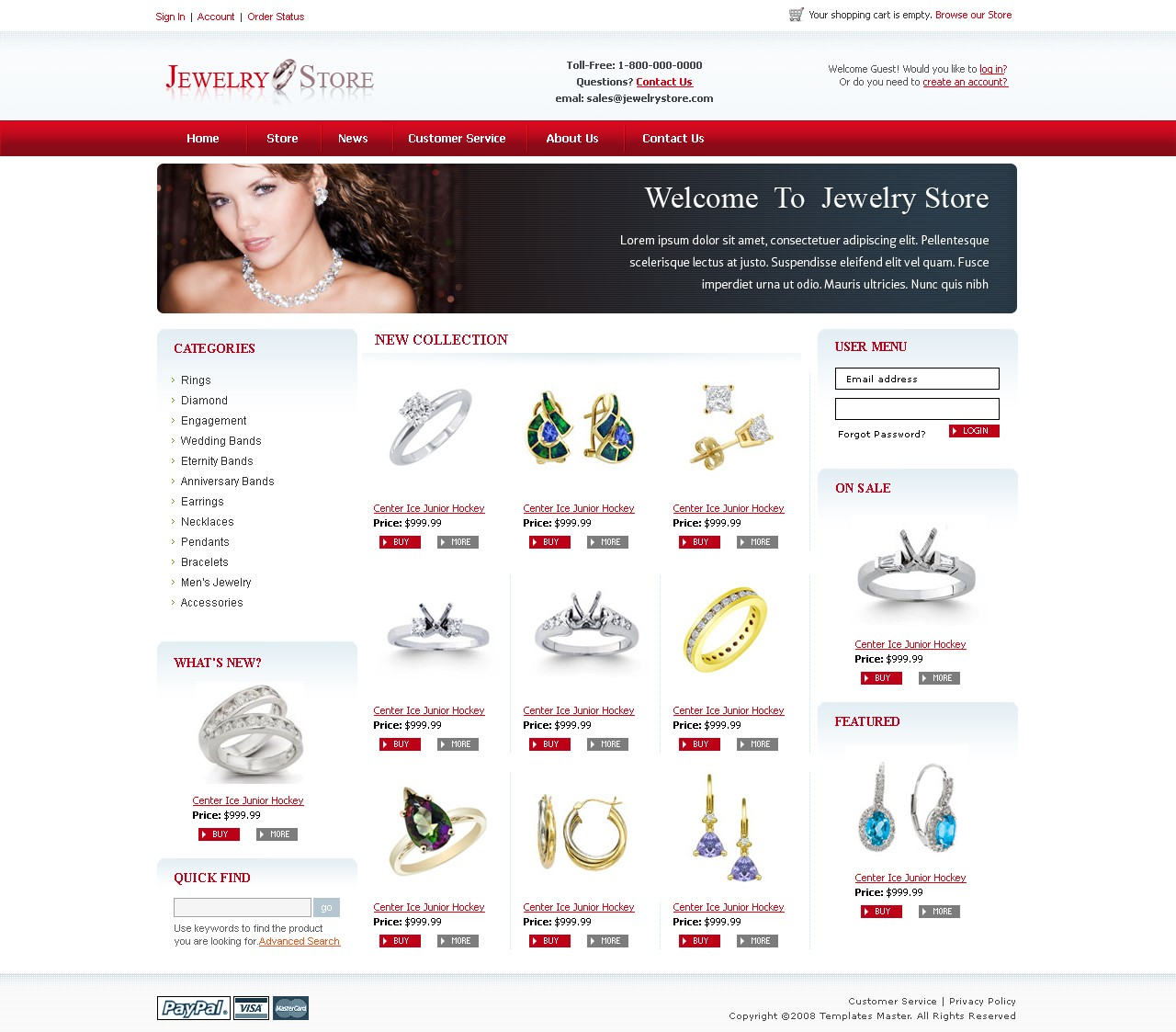 Jewelry magento template templates master for Magento homepage template