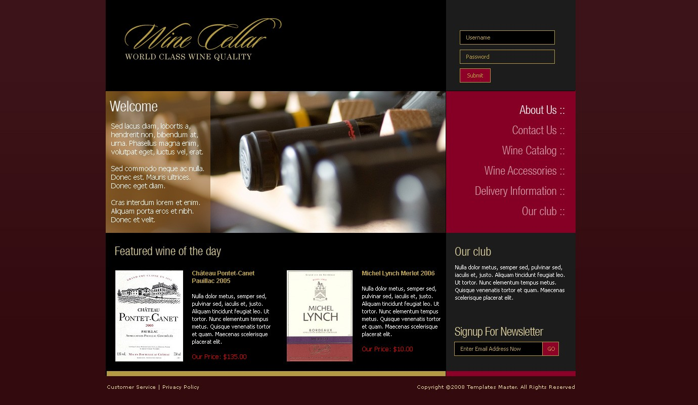 Wine magento template templates master for Wine brochure template free