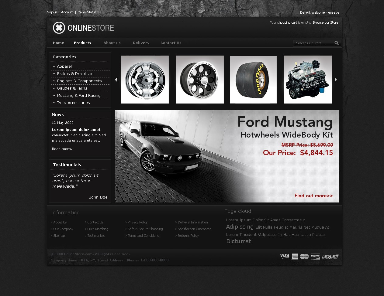 dark concrete universal magento template 4 colors available
