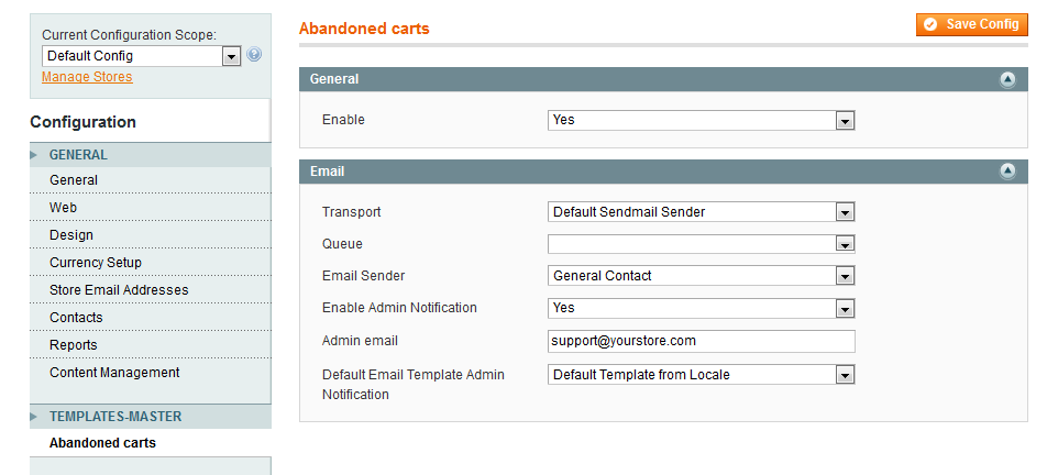 Abandoned Cart extension for Magento
