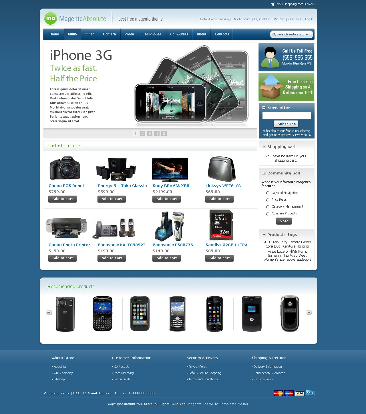 Download free magento template absolute available in 10 for Magento homepage template