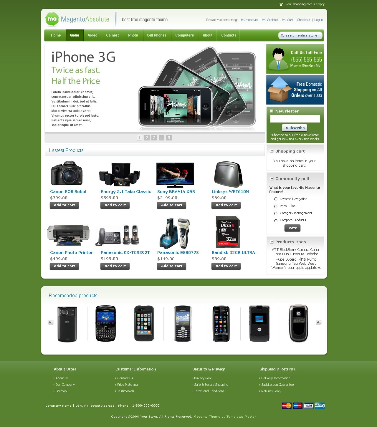 magento template absolute available in colors magento absolute template green