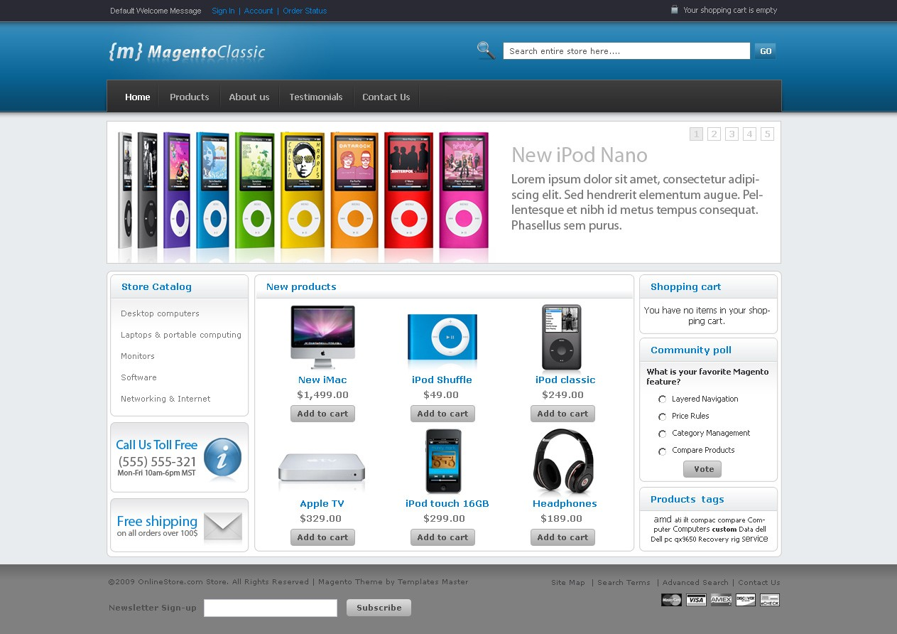 Free Magento Clic Theme Available In 10 Colors