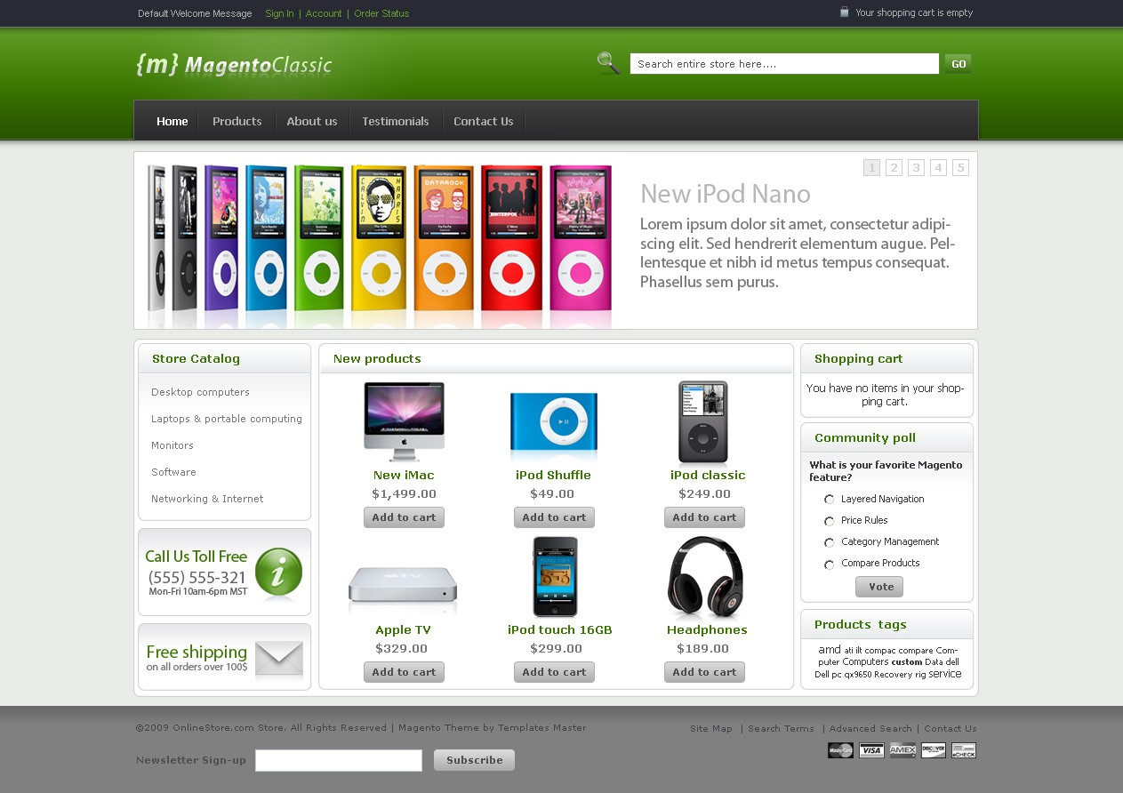 Free magento classic theme templates master for Magento community templates