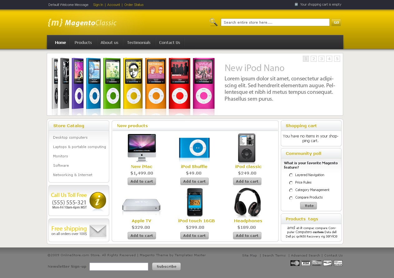 Free magento classic theme templates master for Colors home page