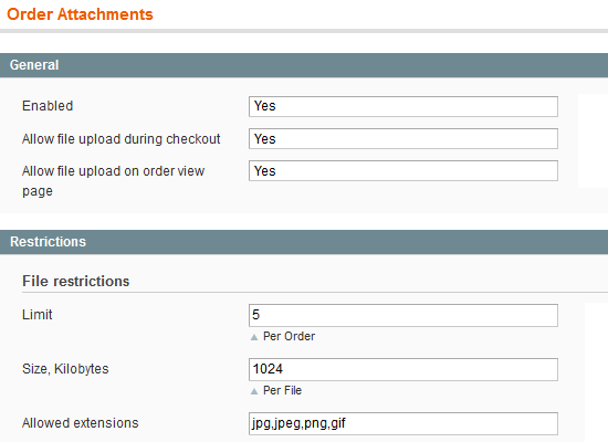 Magento order attachment extension