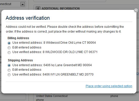 USPS address verification
