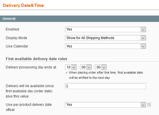 Magento delivery date option