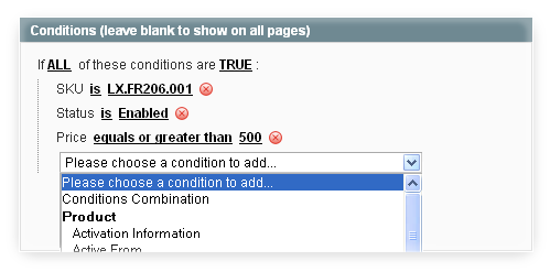 Flexible condition rules