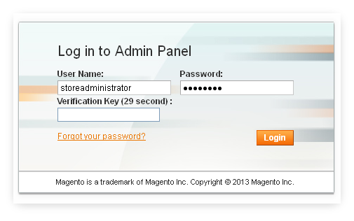 Two factor admin authentication