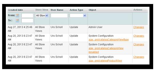 Admin activity logs