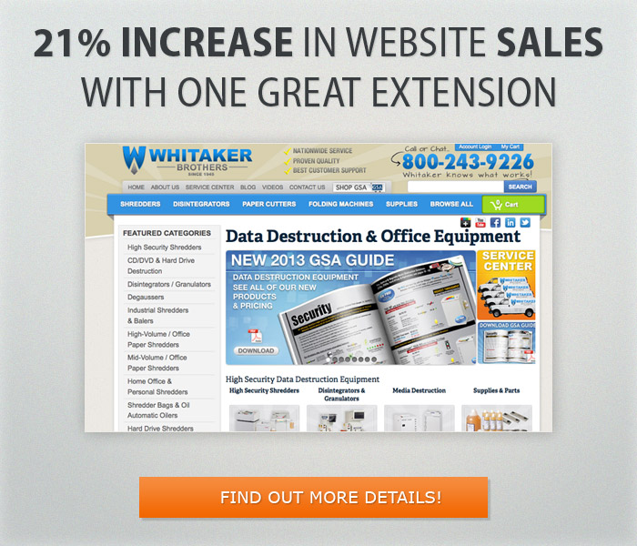 21% increase in website sales with one simple extension
