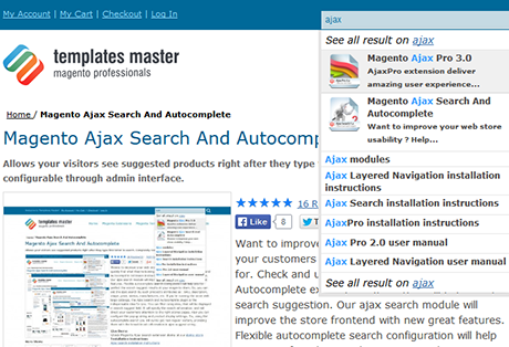 Suggestion of CMS pages in ajax search line