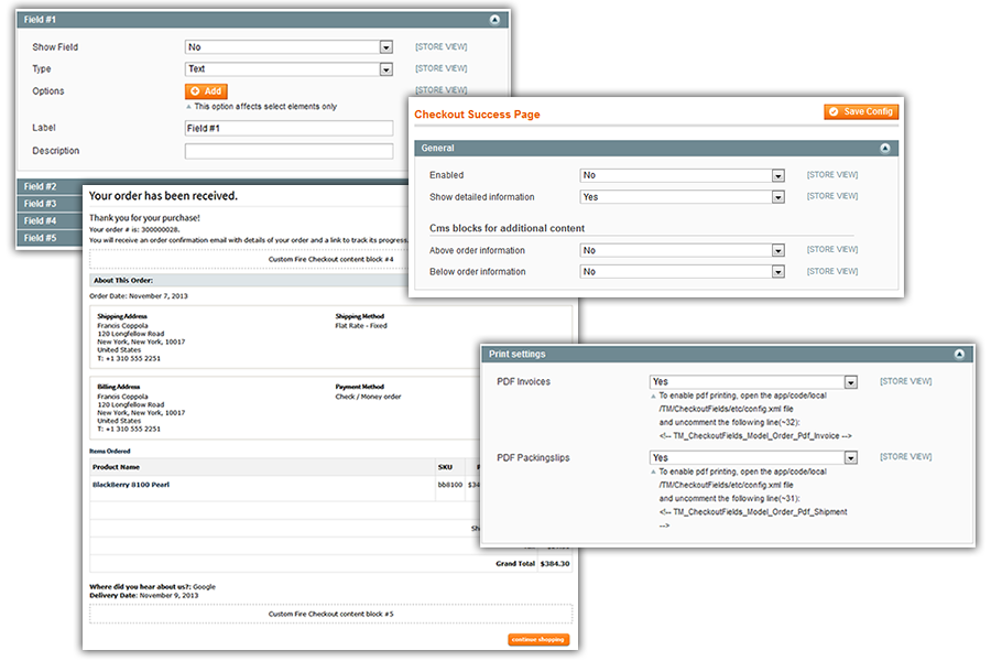 Fire Checkout custom content fields