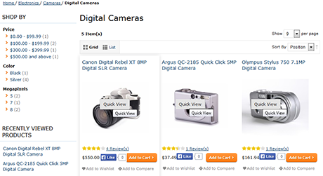 Quick product view on category page