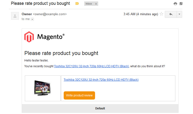 Review Reminder - Magento Connect