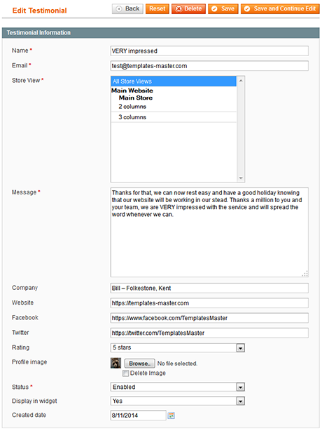 Testimonials extension settings