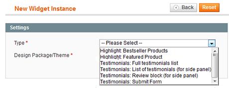 Using Testimonials widget